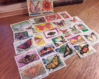 25 Butterflies Postage Stamps. Worldwide