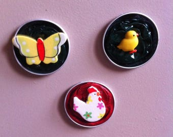 Three Magnets made of recycled coffee nespresso capsules