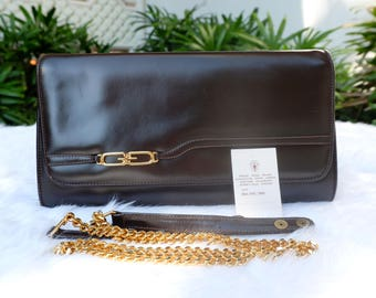 Vintage Gucci Envelope Clutch Evening Bag with Detachable Chain