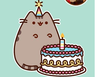Pusheen The Cat Box Birthday Cake Card With Jelly Bean Sweets