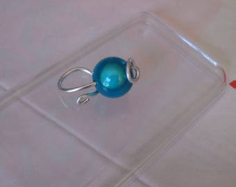 Silver ring and his magic Pearl turquoise