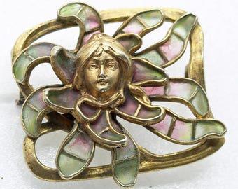 Jugendstil Nouveau Brooch Plique-a-jour Enamel Gilt Silver Meyle & Mayer (#6313)
