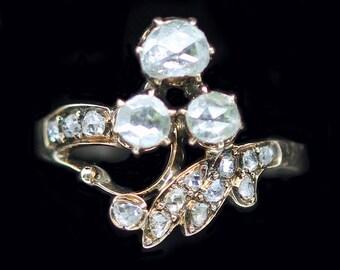 Antique Art Nouveau 14k Yellow Gold Diamond Giardinetti Ring Victorian (#6180)