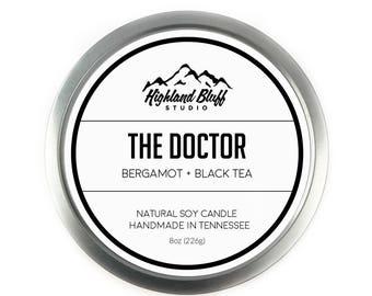 The Doctor // Bergamot + Black Tea // 8oz Soy Candle