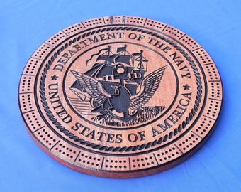 Handcrafted Military Logo Cribbage Board