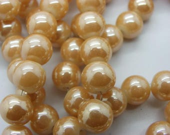 50 beads 8.5 mm plate glass, imitation jade Golden beige hole of 1.5 mm
