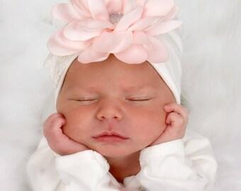 Newborn Girl Hat, Baby Hospital Hat, Baby Shower Gift, Baby Girl Cap