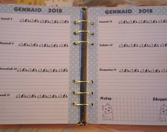 Weekly horizontal refill Planner dated January to December 2018 format A5/Large