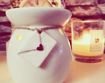 Ceramic wax burner/oil burner with heart clay envelope tag - home fragrance - wax melt - home interior