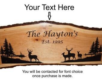 Deer Sign, Deer Decor, Rustic Deer Sign, Personalized Sign, Live Edge Sign, Welcome Sign, Rustic Wood Sign, Wood Sign,   Engraved Sign