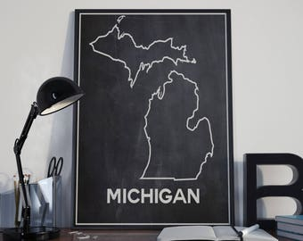 Map of Michigan State Map Michigan Map on Chalkboard Background Outline Map Outline of State Map Hipster Map of Great Lakes Detroit Map