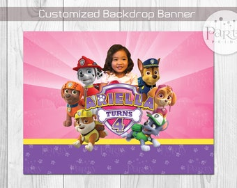 Print-It-Yourself (Digital Copy) Paw Patrol Inspired Backdrop Banner with Personalized Badge & Photo-PINK**No physical item will be shipped
