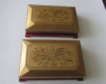 2 Vintage Gold Plastic Vanity Boxes flower Basket Dresser Box