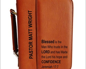 Leather Bible Case Gift for Pastor Appreciation, Thank You Christian Gift for Church Minister-Reverend-Priest-Deacon- Bishop, BCL030