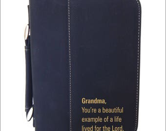 Grandma's Gift, Grandpa's Gift, Personalized Gift to Grandma, Engraved Bible Case, Leatherette Bible Case Gift, Thank You Gift  BCL033