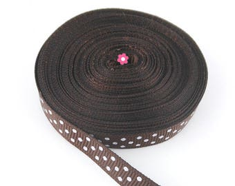 x9m Brown Ribbon with 10mm white polka dots (28A)