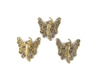x 3 connectors prints antique bronze fairy 27 x 26mm (18)