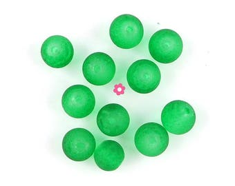x 50 Perle glass frosted green 6mm (50)
