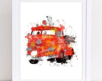 disney cars print, red head fire poster, watercolor , disney cars decor, disney watercolor, watercolor disney, disney poster, cars poster