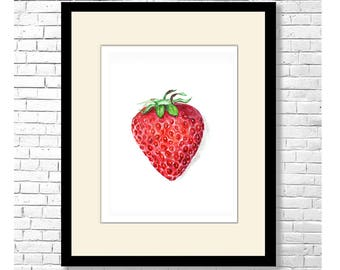 RIPE STRAWBERRY - Red Fruit Berry Illustration Contemporary Watercolor Art Print on White Background