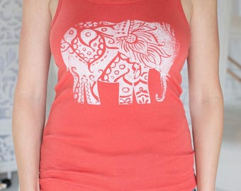 Coral Elephant Tank Top