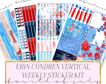 fourth of july erin condren planner sticker kit, 4th of july weekly kit, planning stickers, beach stickers, independence day stickers, cute