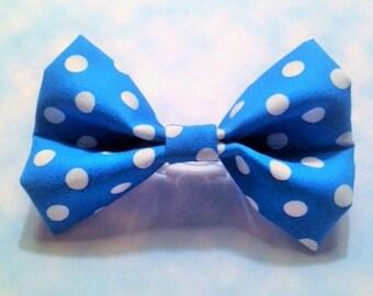 Blue Hair Bow, Polka Dot Hair Bow, Hair Clip, Girls Hair Bow, Polka Dot Hair Clip, Hair Barrette, Little Girls Hairbow, Hair Accessory