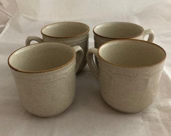 Set of Four Vintage Cream / Beige Stoneware Japan Coffee Mugs / Cups