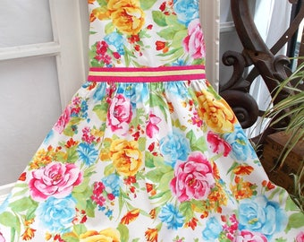 Gorgeous Little Girls Summer Dress.  Pretty Flowers.  Beautiful Party Dress, French Children's Cotton Dress by Marcelin.  6 years