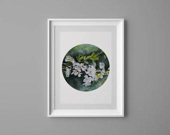 Art Prints, Watercolor, Flower Art Print, Green Home Decor, Minimalist Art Print, Illustration, Giclee, Minimalist botanical flower leaves,