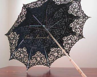 Black Cotton Lace Parasol