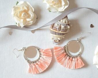 Earrings * KYRA * pink and silver ideal wedding, wedding trend, Bohemian style wedding jewelry earrings