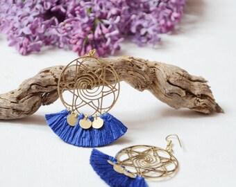 Blue earrings light blue Pompom, women 2017 women jewelry, Bohemian earrings
