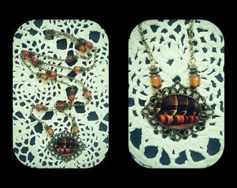 Orange cabochon, theme Roller vintage semi precious Agate faceted necklace