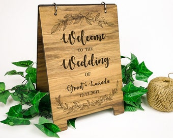 A4 Wooden Sign - Welcome to the Wedding of...