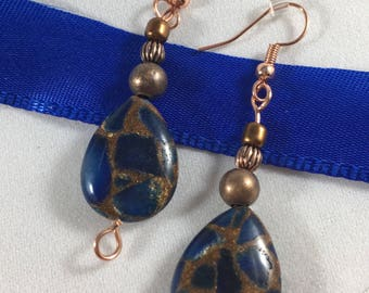 Copper Wire and Blue Stone Drop Earrings