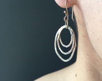 Forged Silver Earrings, triple hoop earrings, hammered earrings, modern earrings, contemporary earrings, grab & go, featherlight, daily wear