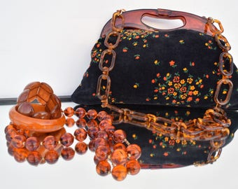 Vintage 70s Handtas Oranje Bruin Flowered Vilt Handbag