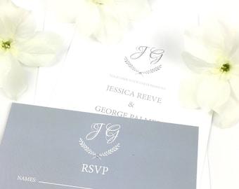 Elegant Romantic Grey Wedding Invitation & RSVP Set / Wedding invite / UK