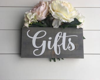 Wedding Gifts Sign, Rustic Wood Wedding Decor, Country Wedding Prop Gifts Cards Sign Grey Black White Wedding Sign