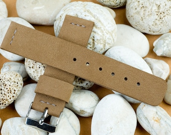 Watch band 22 mm width, 125 / 75mm, Brown (Olive) color leather, handmade, with buckle in silver color