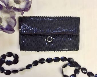 Black Sequin {Norman Norell} Evening Clutch c1970s