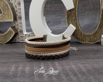 Designer jewelry - leather cuff with stitching, suede color beige, Brown and silver rhinestones