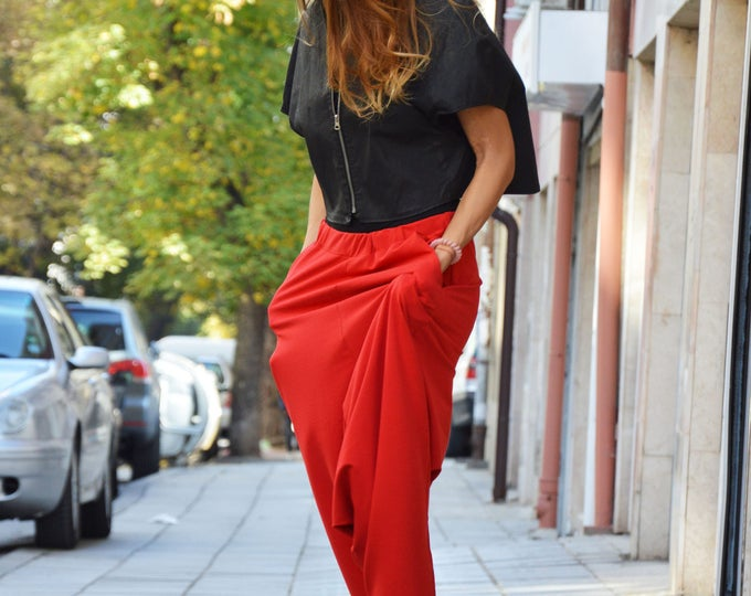 New Loose Red Harem Pants, Extravagant Drop Crotch Trousers, Casual Plus Size Pants, Maxi Sports Pants by SSDfashion