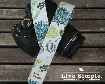 Correa para cámara Succulents | Cactus | DSLR Camera Strap | Accessories | Soft Cotton | Live Simple®