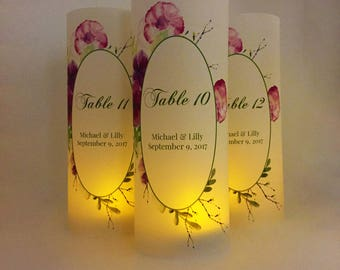 Table Number Ideas - Table Numbers - Wedding Luminary - Script Table Number - Wedding Decor - Wedding Signs - Table Number Wedding