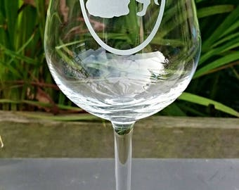 Beauty & The Beast Engraved Wine Glass - Personalised - Handmade