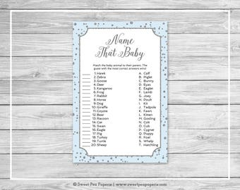 Blue and Silver Baby Shower Name That Baby Game - Printable Baby Shower Name That Baby Game - Blue and Silver Confetti Baby Shower - SP151
