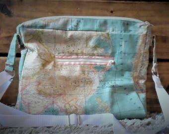 Handmade crossbody handbag UK Europe and Asia Map material