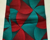African Print Fabric/ Ankara - Red, Teal 'Chisa's Mark' Design, YARD or WHOLESALE